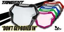 Tangent 3D Ventril Number Plate Stand Out from the Crowd.....Don't Get Boxes In. The Tangent Ventril Race Plate for real Bmx Racers that want to stand out. You are Different you are special...so show it. Fed up with everyone looking the same..stand out with the  NEW TANGENT 3D Ventril Race Plate. In Pro and Expert Mini. Lot's of colours and more coming keep a look out and look fresh for 2018.  We have the full Tangent Ventril Patterns to make you the perfect custom plate.